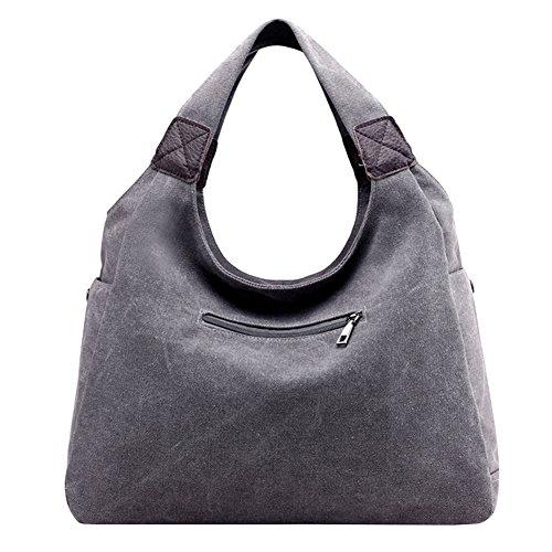 PB-SOAR Damen Canvas Schultertasche Henkeltasche Shopper Handtasche Hobo Bag Beuteltasche Schulterbeutel, 6 Farben auswählbar (Schwarz) Grau