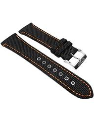 Citizen Marken Ersatzband Uhrenarmband Textil / Leder - Schwarz / Orange 22mm für u.a BM6686-13E