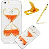 iPhone SE Liquid Case,iPhone 5S Glitter Love Heart Case,Herzzer Luxury Funny Creative 3D Sandglass Liquid Quicksand Glitter Sand Moving Crystal Soft