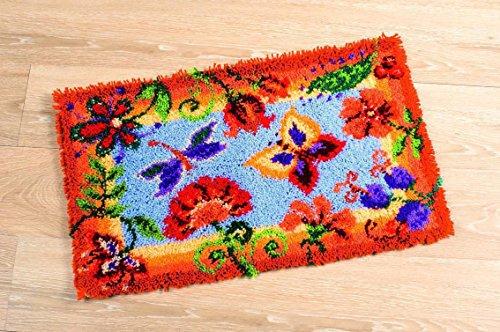Vervaco Dekorative Blumen Knüpfteppich mit Knüpfhaken, Baumwolle, Mehrfarbig, 65 x 40 x 1 cm
