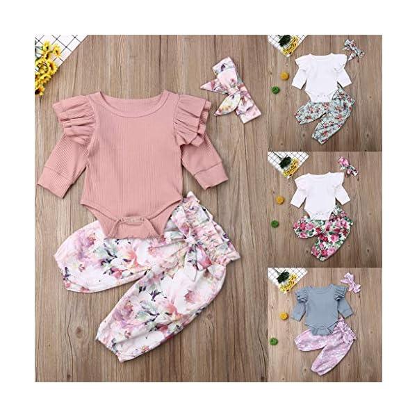 Traje de Dormir Mameluco Tops de Mameluco con Mangas con Volantes para bebés y niños pequeños + Pantalones Florales… 2
