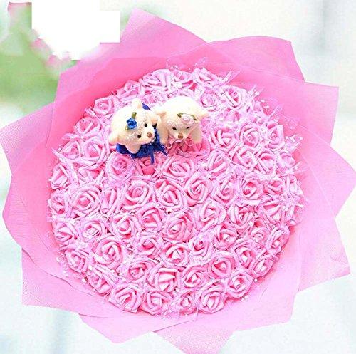 99 Bär + künstliche blaue Rosen Puppe Cartoon Bouquet Braut Brautjungfer mit Blumen Hochzeit liefert Weihnachtsgeschenk ( Color : Rosa )