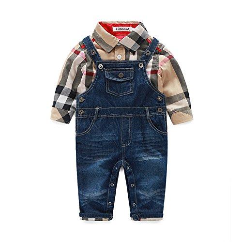Fanryn 2-teiliges Babykleidungs-Set Babyanzug Jungen Kleider Coat Kleidung kariertes Hemd spielanzug + Jeans Bekleidungsset Kleidung Gentleman Anzug mit Ärmeln Herbst Kleidung (Toten Kostüm Mädchen Gothic)