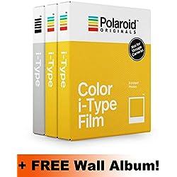 Lot de 3 paquets de films Polaroid Originals I-Type Core (2 en couleur, 1 en noir et blanc), albums muraux offerts