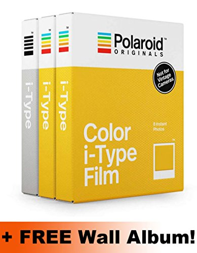 Polaroid originals i-type core film triple pack (2colori, 1bianco e nero) + album da parete