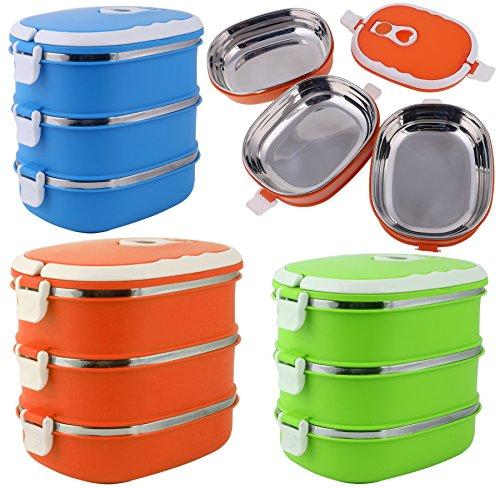 Thermo Lunchbox mit 3 fächern für Kinder & Erwachsene Brotdose/Speisebehälter Lebensmittel Container Edelstahl (Grün)