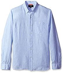 Jack Spade Mens Long Sleeve Linen Micro Stripe, Blue, Medium