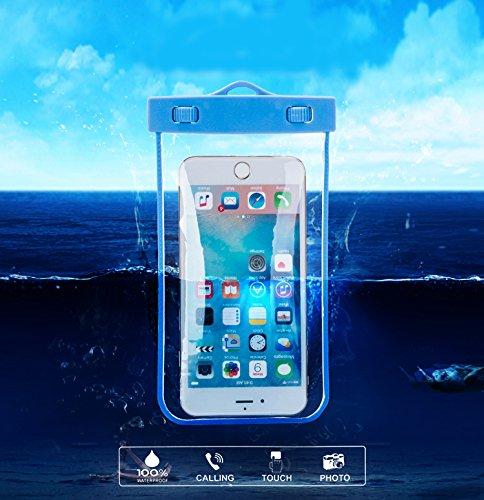 Wasserdichte Hülle,Aomo Wasserdichte Tasche Universal für iPhone 6 6S Plus iPhone 7 Samsung Galaxy A3 A7 A9 Note 7 HTC , usw-Weiß Blau