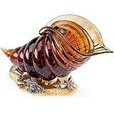 Il Bronzetto Luxury - Cornucopia in cristallo color ambra e base con conchiglie in bronzo dorato e argento antico