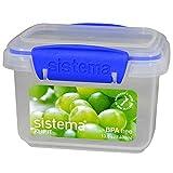 Sistema Rectangular plástico recipiente de almacenamiento de alimentos, Clear/Blue, 400 ml