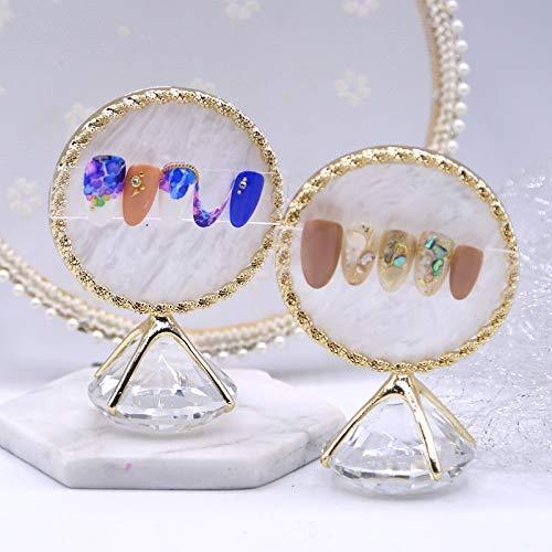 1 STÜCK Diamant Nail art Platte Nagelspitzen Ständer Nail art Display Werkzeug Foto Requisiten Zeige Werkzeuge Golden Rim Achat Rim Plate