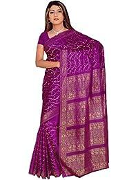 Fertig gewickelter Bollywood Sari Indien Lila Gr. M bis L