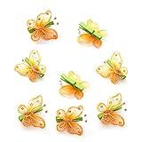 8 lustige orange Schmetterlings Holz-Klammern mit Glitzer u. Perlen zur Deko, Größe: 5 cm.