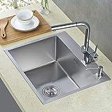 Auralum évier de cuisine carré 45 x 55cm 1 Évier + 2 trou + Trop-plein et Siphon Cuisine lavabo évier inox 1 bac