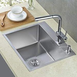 AuraLum – Fregadero-lavabo de acero inoxidable, apto para lavar verduras y frutas