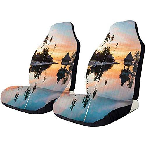 Olive Croft 2PCS Protezione sedile, Sunset in Wild Desert Elastic Easy Install Rimuovi fodera lavabile