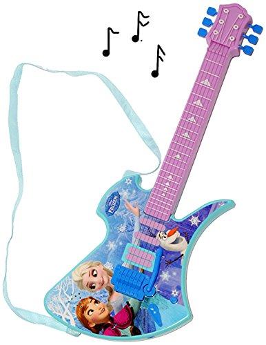 """elektrische E-Gitarre - """" Disney die Eiskönigin - Frozen """" - akustische - Kindergitarre - mit Verzerrer ! spielt auch 3 Lieder ! - 6 Saiten / Seiten - völlig unverfroren Prinzessin Elsa Anna Arendelle - Olaf - für Kinder - aus Kunststoff - Rockgitarre / Spielzeuggitarre für Mädchen & Jungen - Batterie betrieben Gitarre / elektronische - Musikinstrument"""