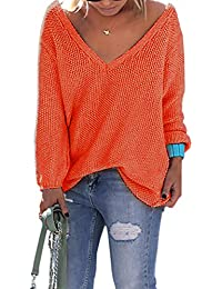 Ninimour Damen Casual Herbst V-Ausschnitt Lose Einfarbig Pullover Sweater