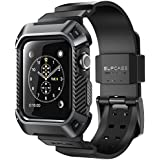 SupCase Unicorn Beetle Pro Rugged Protective Cover with Strap Bands for Apple Watch Series 3, 2017/2016/2015 (Black, 42mm)