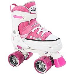 Hudora Rollschuhe Roller Skate, pink, verstellbar Gr. 28-31 - Patines en paralelo, color rosa, talla 28-31