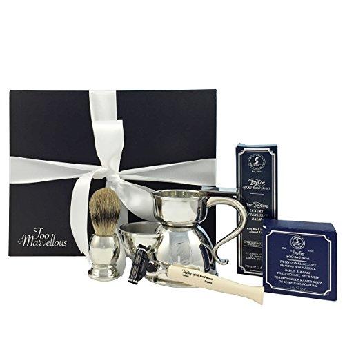 Komplettes Rasier Geschenk Set Inc 'Zinn Becher und Pinsel mit Taylor of Old Bond Street Rasierer und Produkt Zinn Geschenk-set
