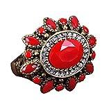 Anillo para mujer, estilo étnico, aleación de resina, diseño de flor grande, tamaño 7 – 10 – 20 # rojo Amesii
