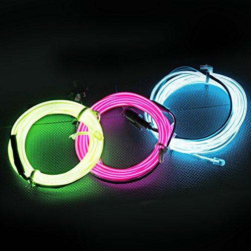 5FT / 1.5M Sound aktiviert Neon leuchtende Strobing Elektrolumineszenzdraht (Ton aktivierte EL-Draht Rosa Blau Grün) für Party-Tanz-Auto-Dekor Halloween (Dekorationen Kostüme Tanz)