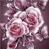 Riou DIY 5D Diamant Painting Voll ,Stickerei Malerei Diamant Retro BlumenCrystal Strass Stickerei Bilder Kunst Handwerk für Home Wall Decor gemälde Kreuzstich (Rosa, 25 * 25cm)