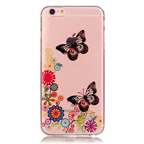 SZHTSWU 2 x Hülle für iPhone 5/iPhone 5s/iPhone 5SE, Ultra Slim Thin Weiche TPU Ultradünn Silikon Schutzhülle Case Farbmalerei Serie Bunte Muster Durchsichtig Transparent Clear Flexible Rückschale Bac Bär Blumen Schmetterling 01