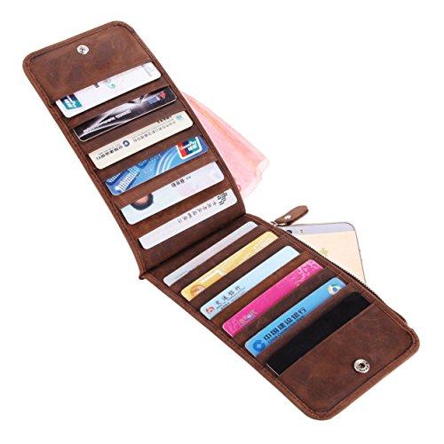 Schlank Stoff Brieftasche (BAOSHA QJ-02 Vintage Schlank Echtleder Kreditkarte Mappen Halter für Männer Herren Geldbeutel Wallet Brieftasche Portemonnaies Börse)