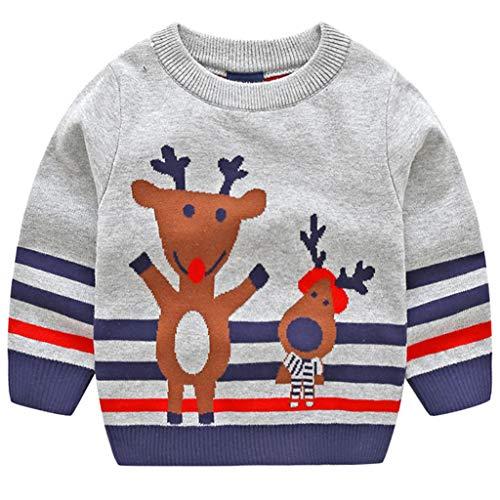 JiAmy Bambino Natale Maglione Felpa a Maglia Inverno Cotone Pullover Manica Lunga Cervo Grigio 1-2 Anni