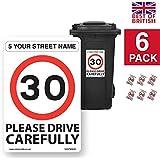 Custom dirección, A4para cubos de basura pegatinas de vinilo y 30mph velocidad aviso [6x Pack–A4200mm W x 300mm H, fondo blanco]