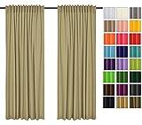 Rollmayer 2er Pack Vorhänge mit Tunnelband Kollektion Vivid (Beige 3, 135x215 cm - BxH) Blickdicht Uni einfarbig Gardinen Schal für Schlafzimmer Kinderzimmer Wohnzimmer 2 Stück