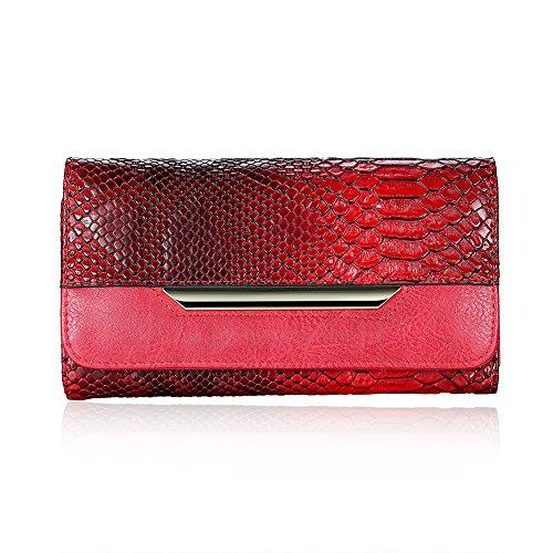 Rosso semplice e alla moda fibbia metallica/Tessera clamshell portafoglio in borsa-Rosso Rosso