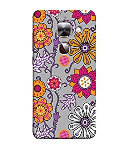 PrintVisa Designer Back Case Cover for LeEco Le Max 2 :: LeTV Max 2 (Flowers In Grey And Purple Cute Design)
