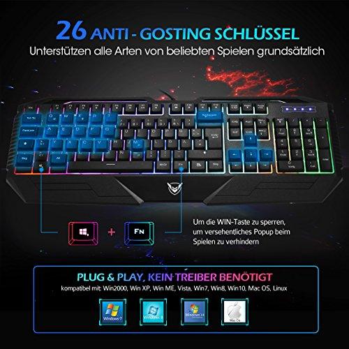 Gaming Tastatur, Pictek 26 Key Anti-Ghosting-Tastatur mit verstellbarer Rainbow LED-Hintergrundbeleuchtung, ergonomische Handballenauflage, wasserdichte Computer-Tastatur für Gamer-Typisten - 3