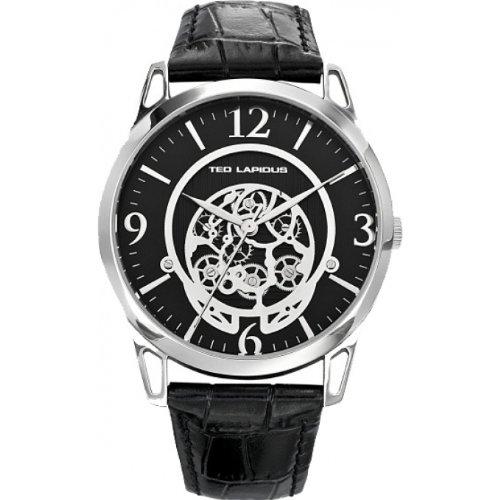 Ted Lapidus 5127301 - Reloj analógico de cuarzo para hombre, correa de cuero color negro