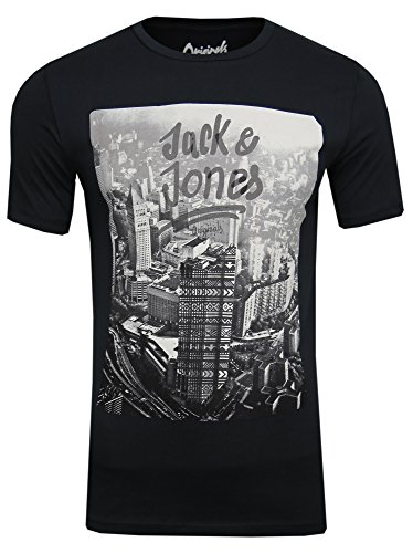 JACK & JONES HERREN T-SHIRT MAMA TEE Schwarz ( tap shoe / slim fit )