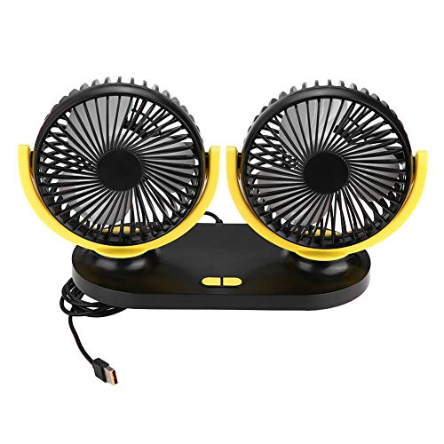Fydun Auto Ventilator, USB Dual Head Auto lüfter Tragbare Klimaanlage Autokühler Belüftung 12V Tischventilator 350 Grad Drehung KFZ Ventilator Für Fahrzeug LKW Rücksitz (Graugelb) -