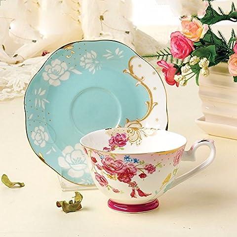ZHGI Bone China tazzine y piattini para taza de café juntos el té de la tarde taza cerámica y la placa juntos,verde