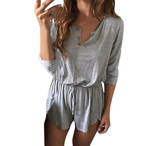 Makefortune Frauen Langarm V-Ausschnitt Playsuit Jumpsuit (XL) (Elastische Taille, Bermudas)