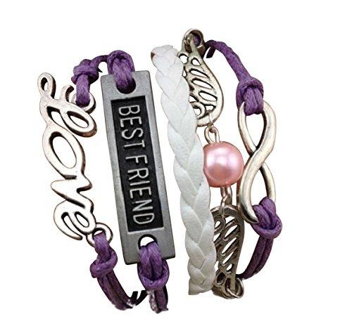 Imagen de strass & paillettes pulsera best friend alas de ángel violeta. amor. enlace infinito de plata. perla de amor. regalo para su mejor amiga.