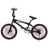 Ridgeyard Bicicleta BMX Free-style 20 pulgadas Rotor 360 ° bmx bikes (Negro + Rojo)