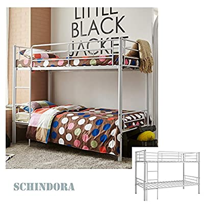 Schindora Kids Bunk Bed Single Sleeper Metal Frame Childrens Bedroom Furniture White 3ft - low-cost UK light shop.