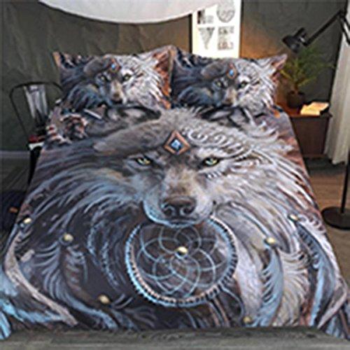 3D Bettbezug + 2 Kissenbezüge Wolf indischen Stil drucken Polyesterfaser 3-teilige Bettwäsche , König Hochzeit Bettwäsche-set König