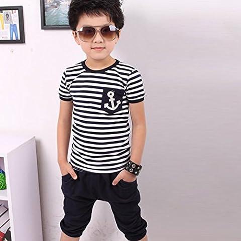 Culater® Nuovi Bambini Abbigliamento bambini Navy maglietta a righe e pantaloni (Abbigliamento bambino)