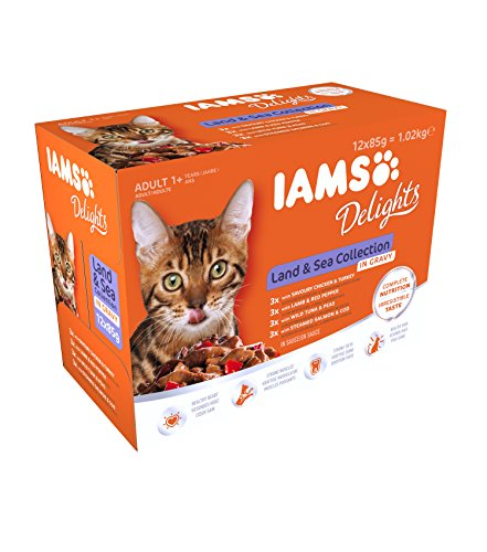 IAMS Delights Wet Food Land and Sea Collection for Adult Cats with Meat and Fish in Jelly, 12 x 85 g 4