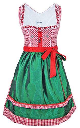 Mondkini Petticoat Dirndl Anita 2-tlg. - Rot Grün Gr. 42