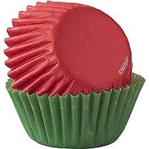 Wilton–Rosso & Verde Mini Cupcake Liners 100-Count, Multicolore, confezione da