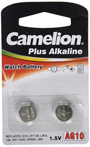 Camelion 12000210 Pack de 2 Piles Bouton Alkaline AG10/LR54/LR1130/389 - 1,5 V